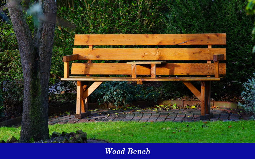 Wood bench for yard