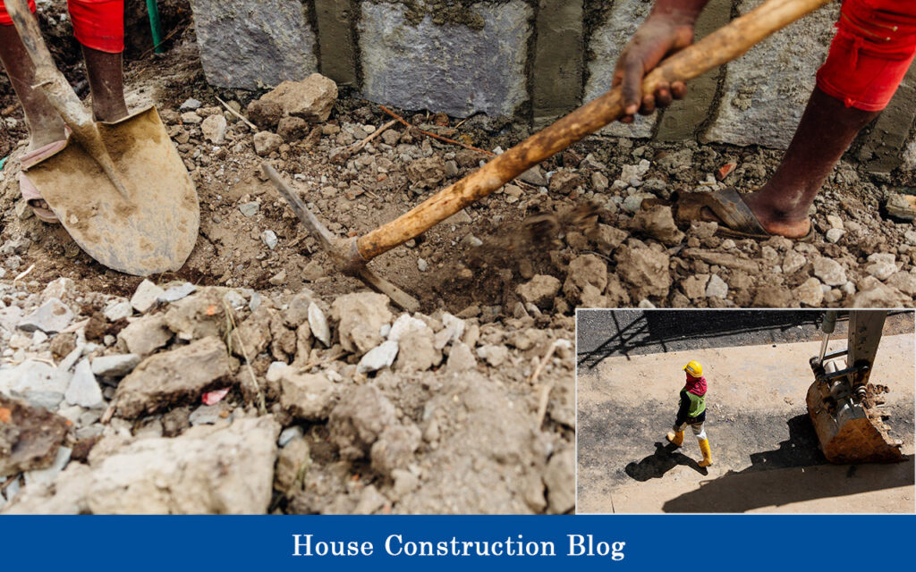 Excavation for house foundation