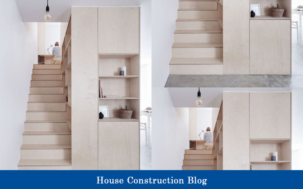 Staircase with side cupboard