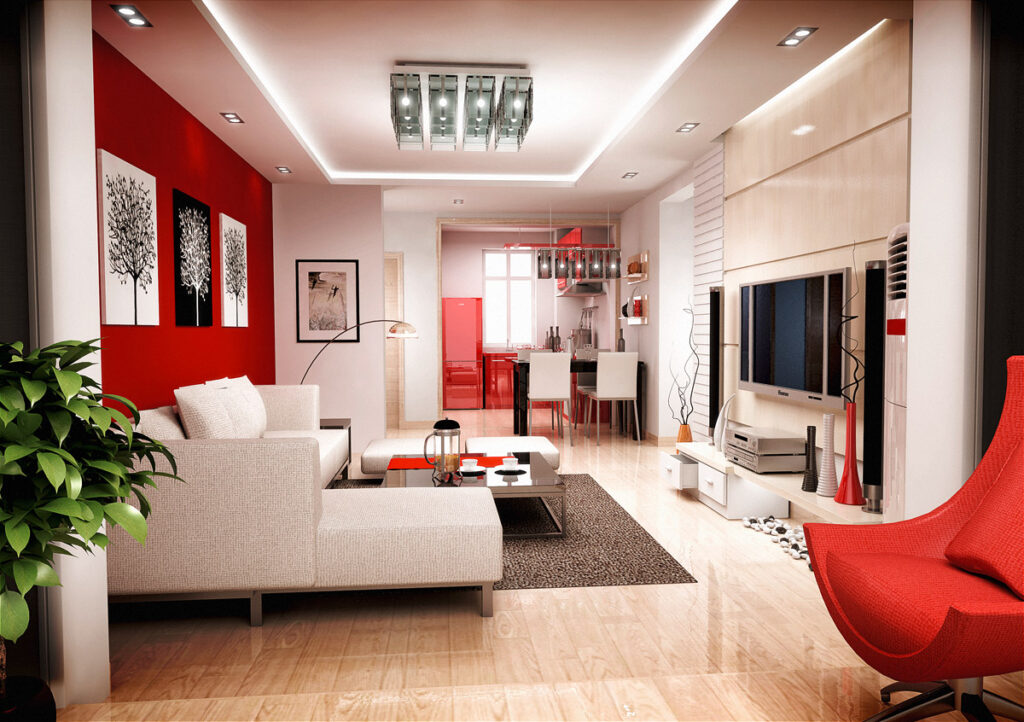 ceiling in red living room