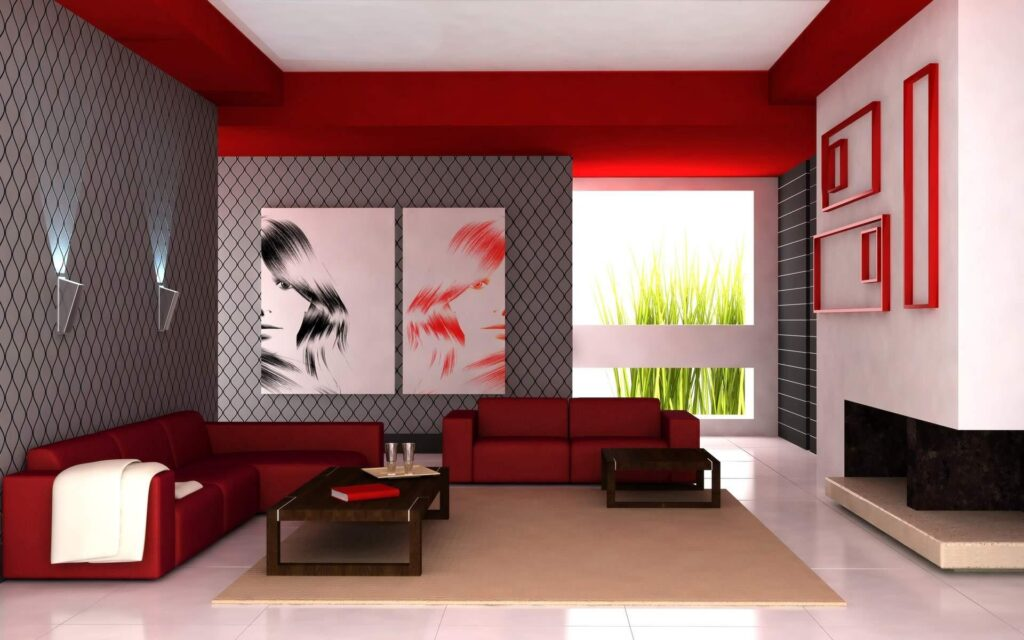Flooring for red living room decoration