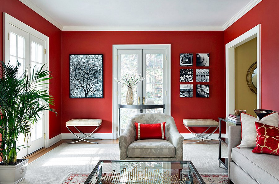 red living room with white sofa