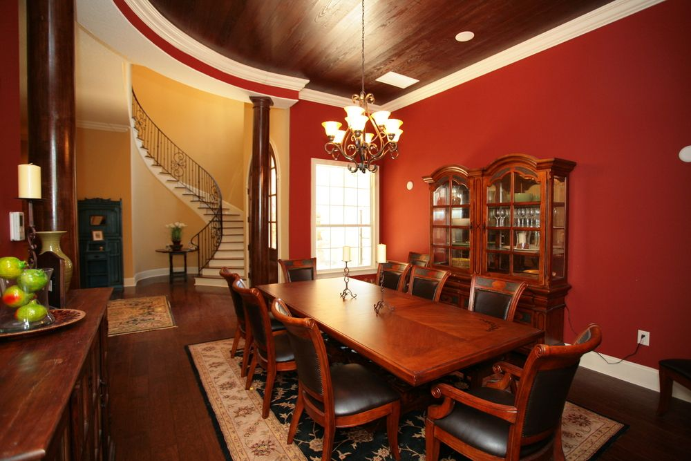 Dining table with red living room decoration